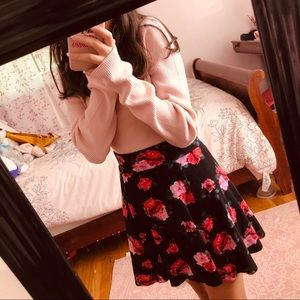 Aesthetic Trendy Black Floral Skirt